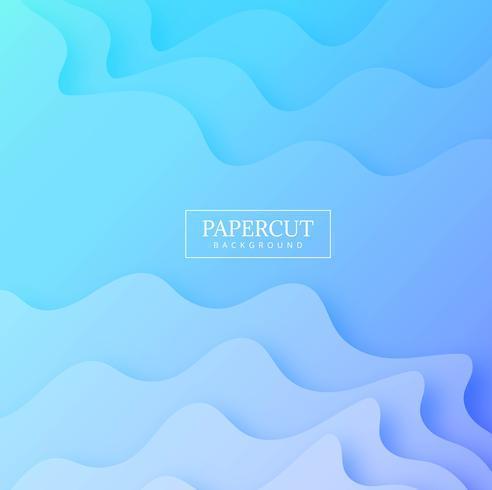 Abstracte papercut creatieve vorm met blauwe golfachtergrondvecto