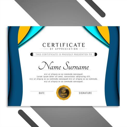 Design ondulado de modelo de certificado elegante abstrata
