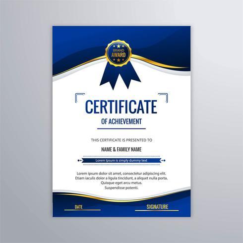 Abstrait beau certificat modèle de conception de vecteur