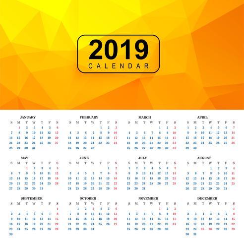 Beau modèle de calendrier coloré 2019 avec motif de polygone