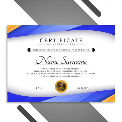 Diseño de plantilla de certificado ondulado colorido abstracto