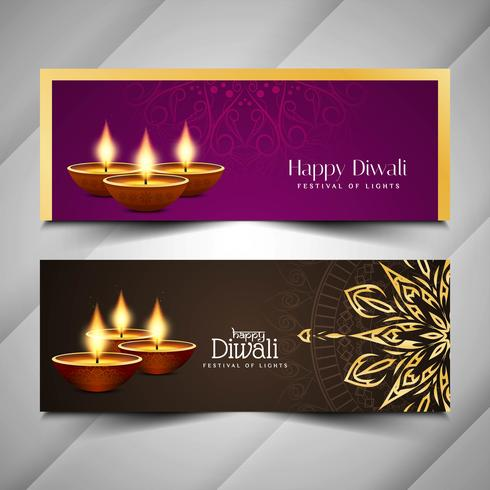 Abstract Happy Diwali festival banners set vector
