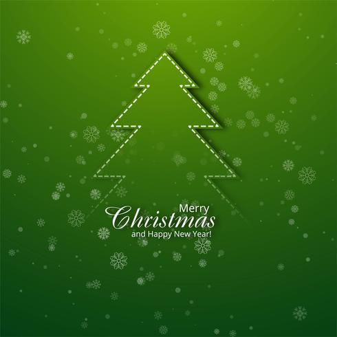 Merry Christmas Greeting Card With Christmas Tree Background