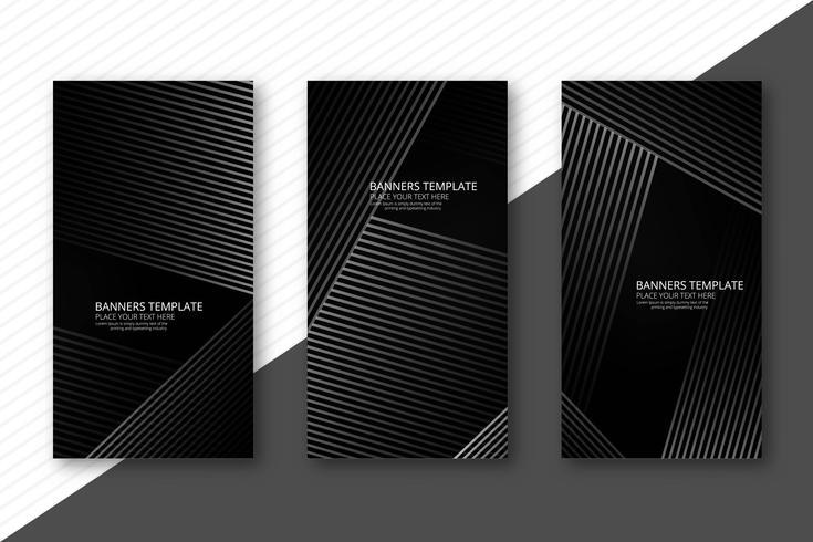Bannières géométriques gris abstraites vecteur défini
