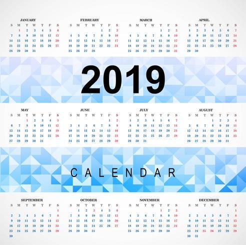 2019 kleurrijke kalender met veelhoeksjabloon vector