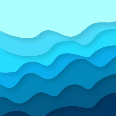 Papercut abstrait bleu coloré avec le vecteur de fond de vague