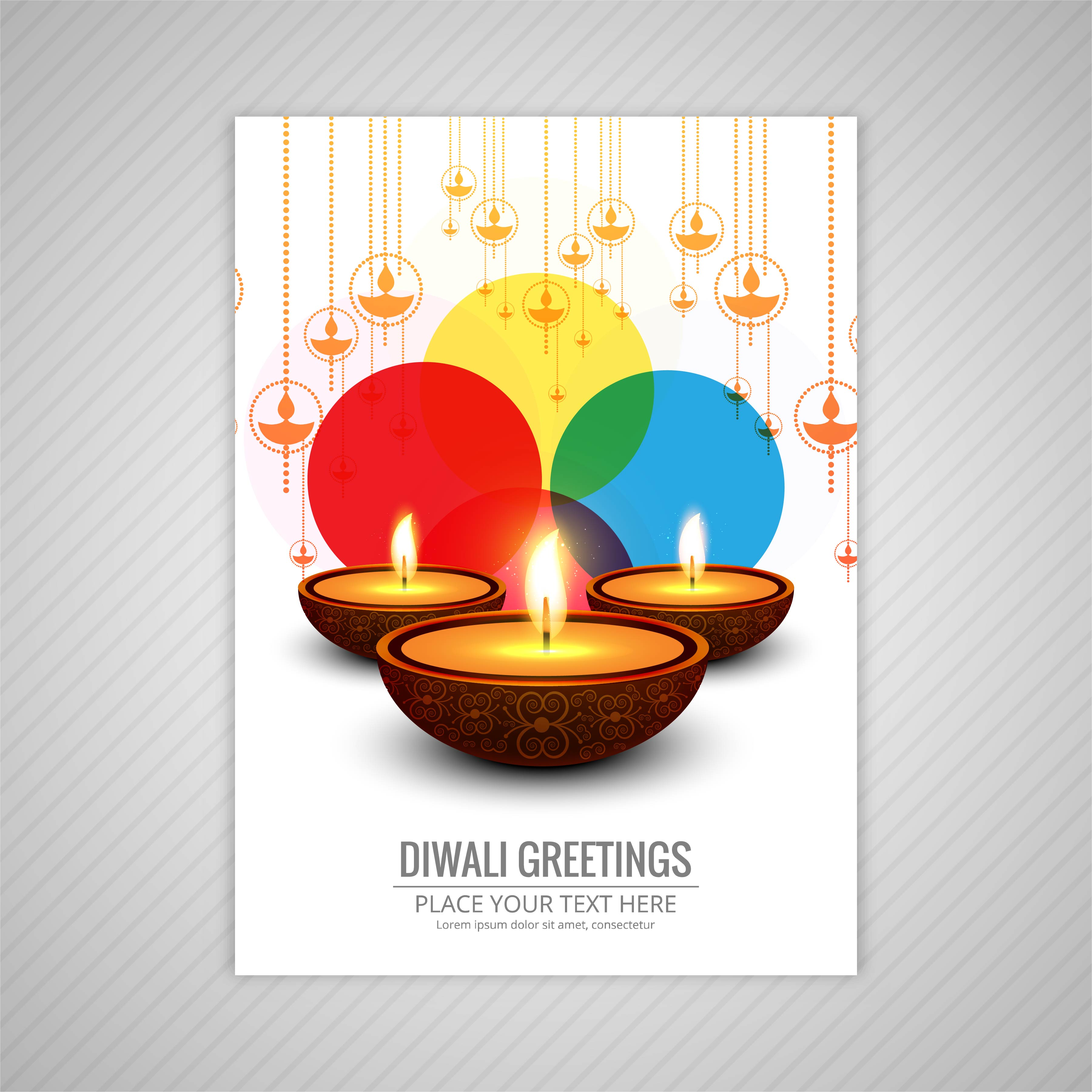 decorative diwali greeting card template design  download