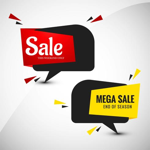 Mega sale banner set design coloré
