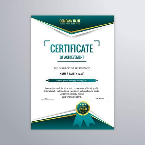 Abstrakt vacker certifikat mall design vektor