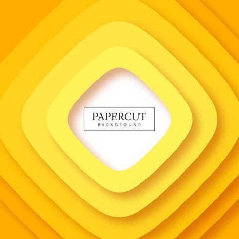 Rayas abstractas amarillo papercut fondo vector