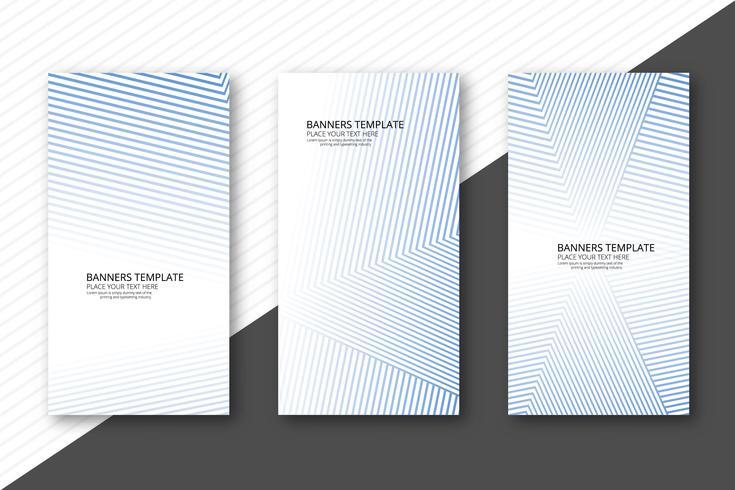 Banners de líneas geométricas modernas set vector plantilla
