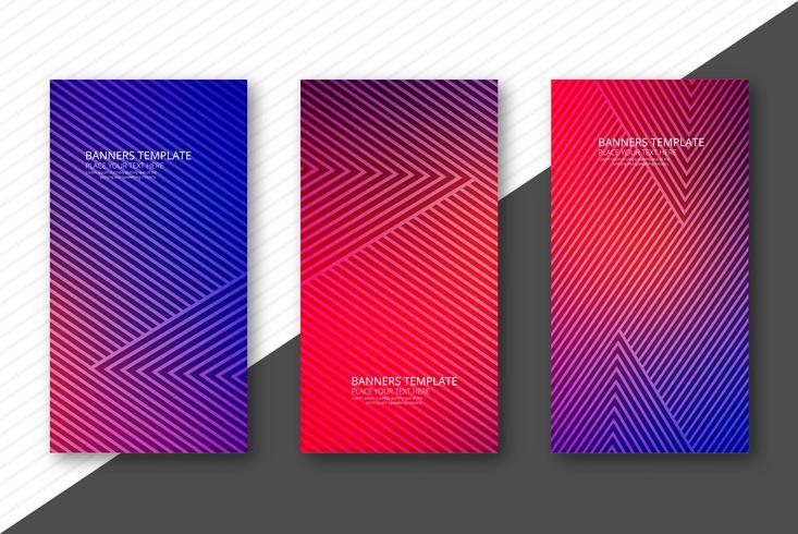 Eleganta färgstarka geometriska banderoller sätta mall illustration vec