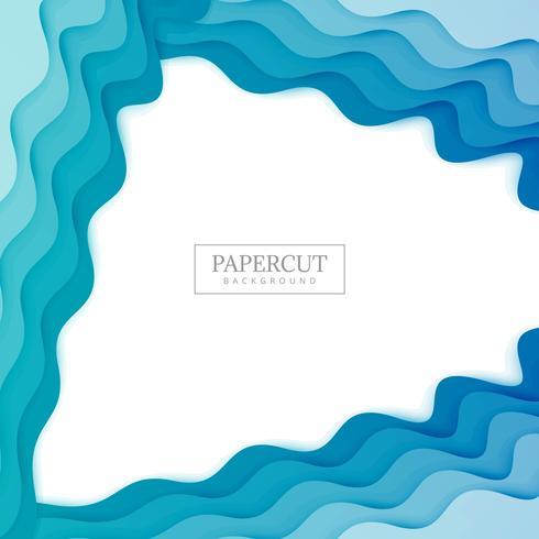 Elegante diseño colorido Papercut ola azul