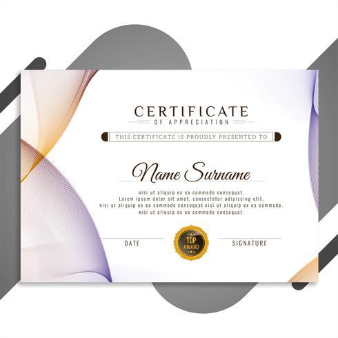 Design de modelo de certificado ondulado colorido abstrato vetor