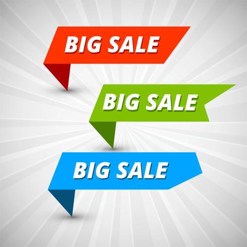 Stor försäljning banners färgstarka mall vektor