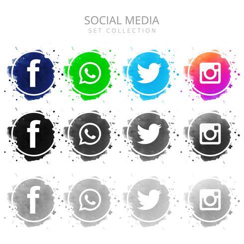 Scénographie de médias sociaux coloré moderne
