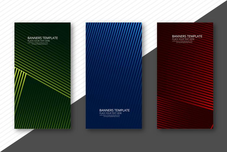Abstract geometric banners set colorful design