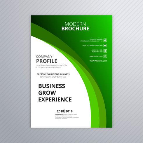 Modello astratto di brochure business verde con disegno dell'onda