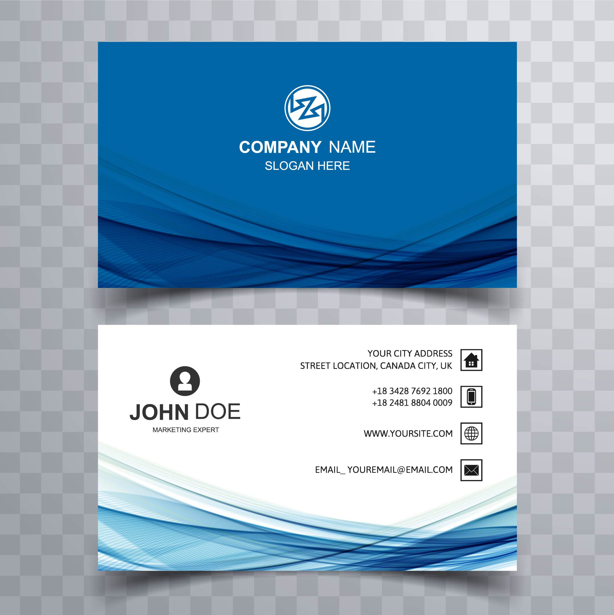 Abstract stylish wave colorful business card template ...