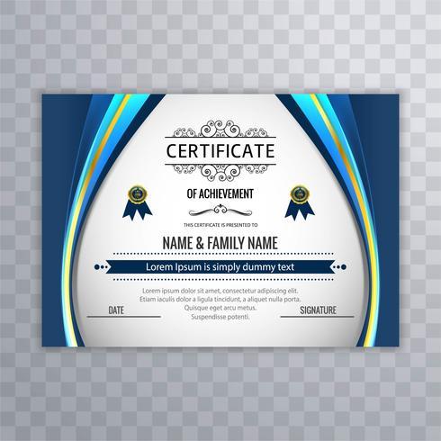 Bello vettore di progettazione del modello del certificato creativo