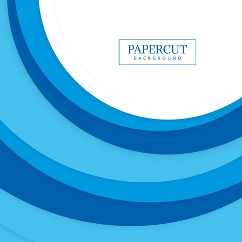 Abstract blue papercut circular wave design vector
