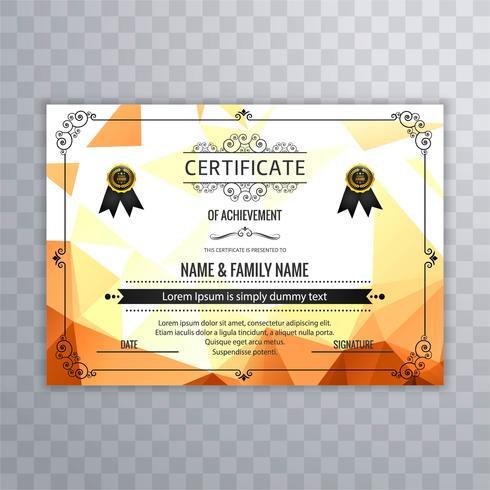 Vector creativo hermoso del diseño de la plantilla del certificado