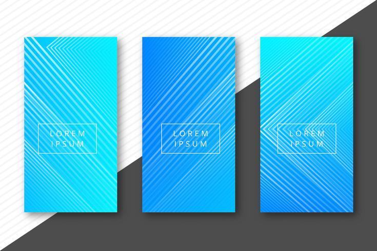 Banners de líneas geométricas coloridas abstractas set vector de diseño