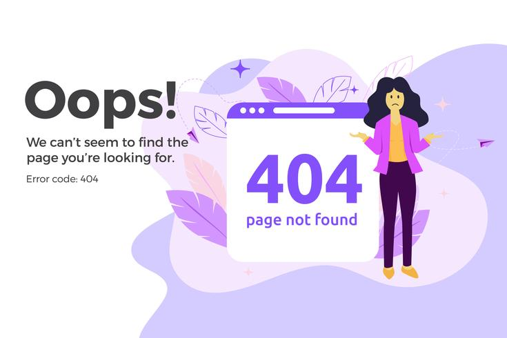 Fout 404 niet-beschikbare webpagina. Bestand niet gevonden concept vector