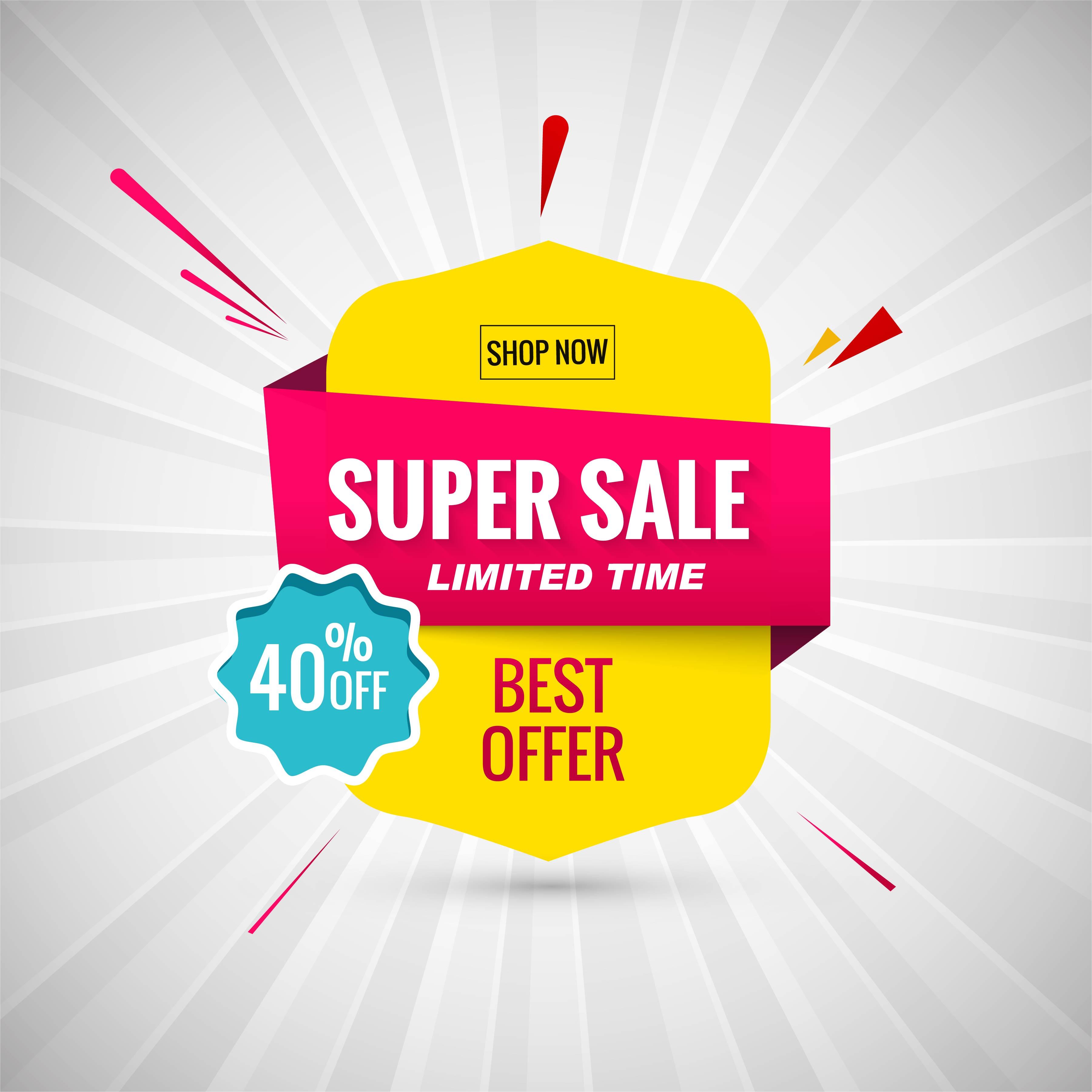 Super Sale Banner Design Vector Illustration Download