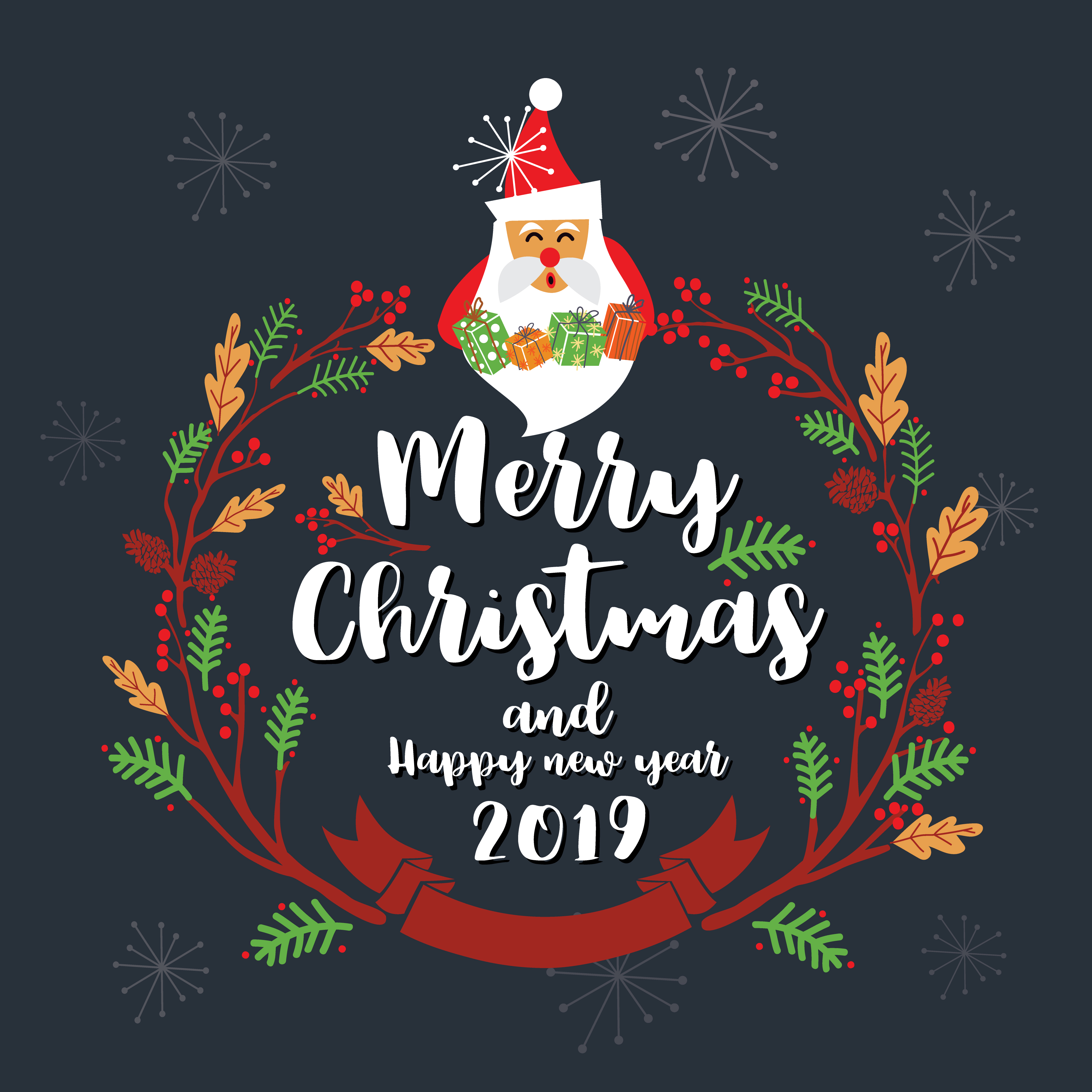 Merry Christmas Greeting Card Design. Vector Illustration