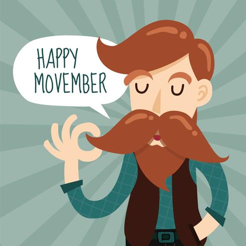 Happy Movember Charity Event Background Design With Cute Gentlem