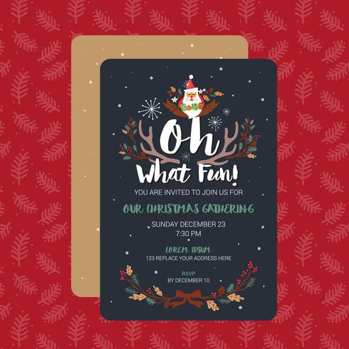 Oh What Fun Christmas Party Invitation Card Template Vector Ill