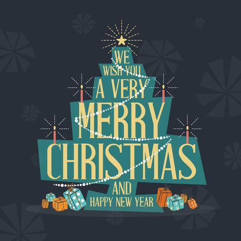Mid Century Modern Merry Christmas Greeting Card. Vektor illustr
