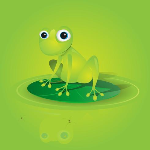Schönen grünen Frosch auf einer Seerose