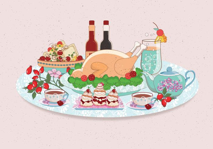 Thanksgiving-tafel Lucht Vol 2 Vector