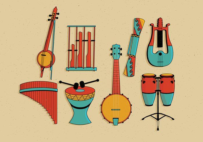 Muziekinstrumenten Knolling Vol 3 Vector