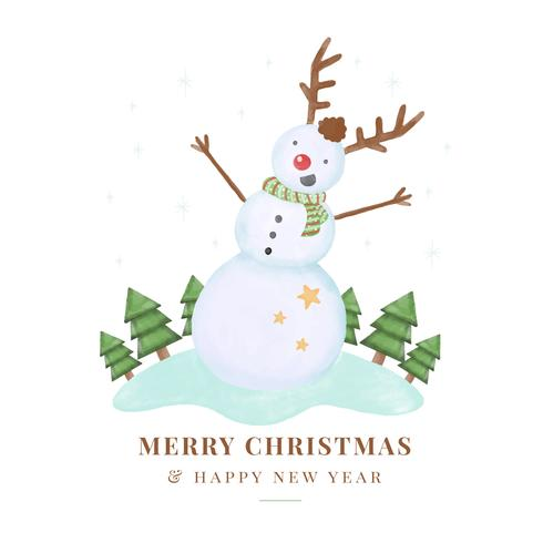Cute Snowman Character Smiling vector
