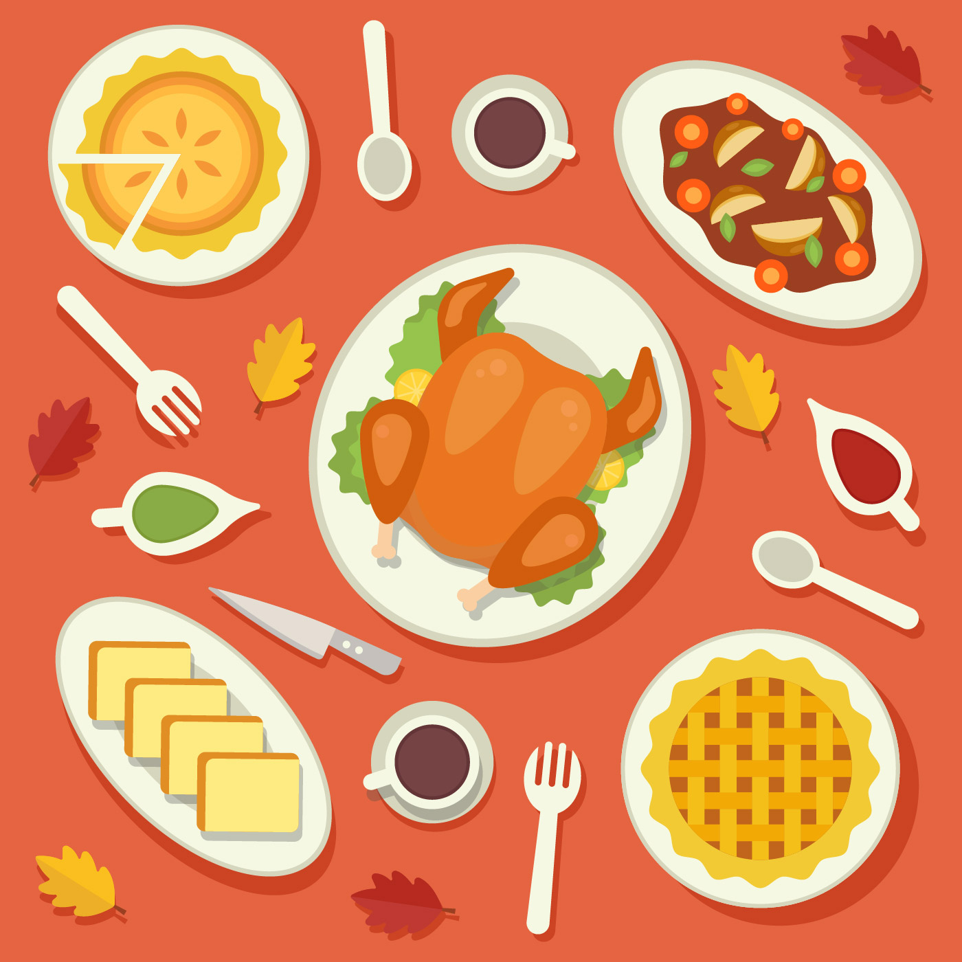 Traditional Food Thanksgiving Vector