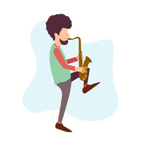 Afro man saxofoon spelen