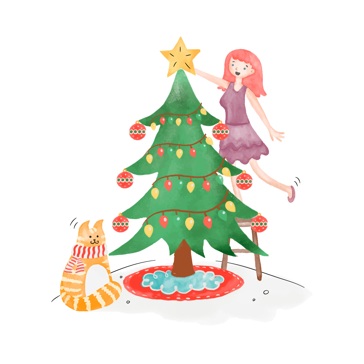 Cute Christmas Tree With Girl And Cat - Download Free ...