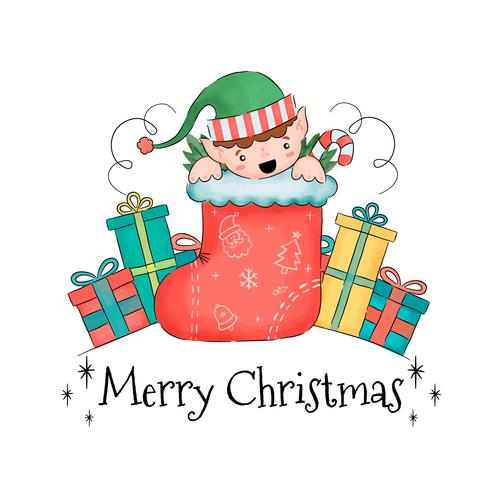 Cute Elf Inside Sock With Gifts Around vector