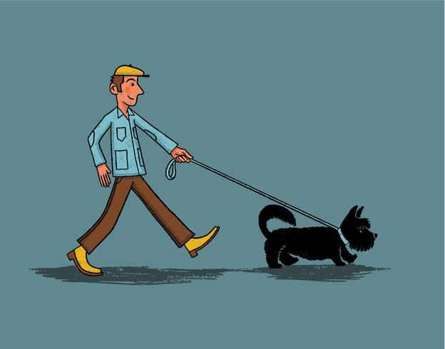 joven paseando a un perrito