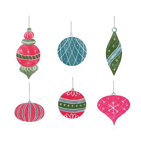 Collection de boule de Noël mignonne   Telecharger Vectoriel
