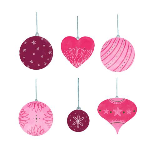 Cute Pink Christmas Ball Collection