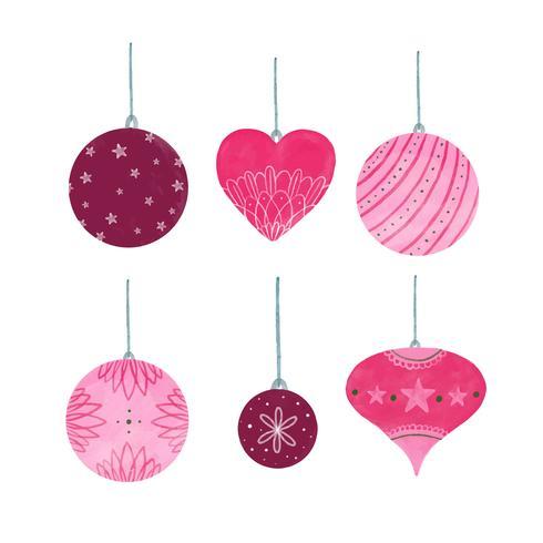 Collection de boule de Noël rose mignonne