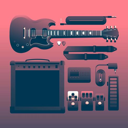 Rock Musical Instruments Knolling