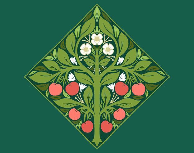 árbol frutal art nouveau vector