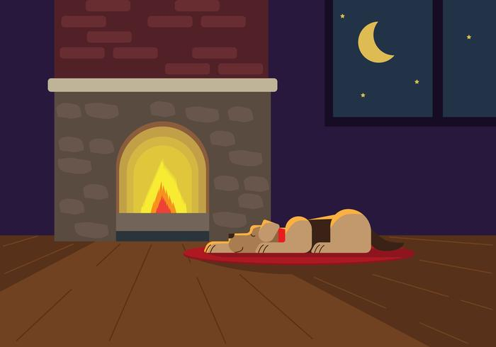 Fireside Animais De Estimação Ilustração Vetorial