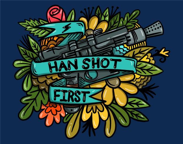 blaster pistool tattoo vector