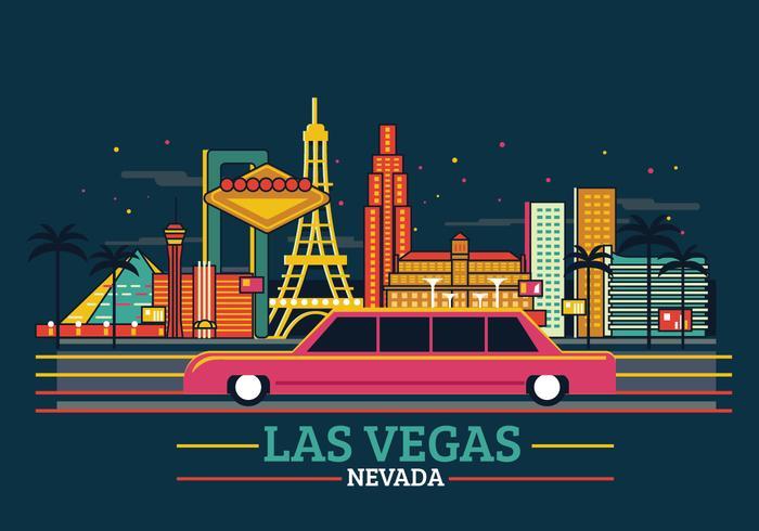 Glamour of Las Vegas skyline med panorama i mörk bakgrund